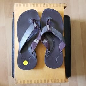 PUMA Brown Leather Thong Sandals Size 7/Size 5.5 M